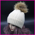 Winter Real Fur Hats Raccoon PomPoms Ball Hat Women Cashmere Wool Headwear Warm Beanies Cap Top Quality