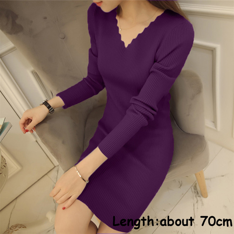2018 Spring Winter Women Short Sweater Dress V Neck Long Sleeve Sexy Slim Solid Very Short Knitted Pullover Sweater Sudaderas