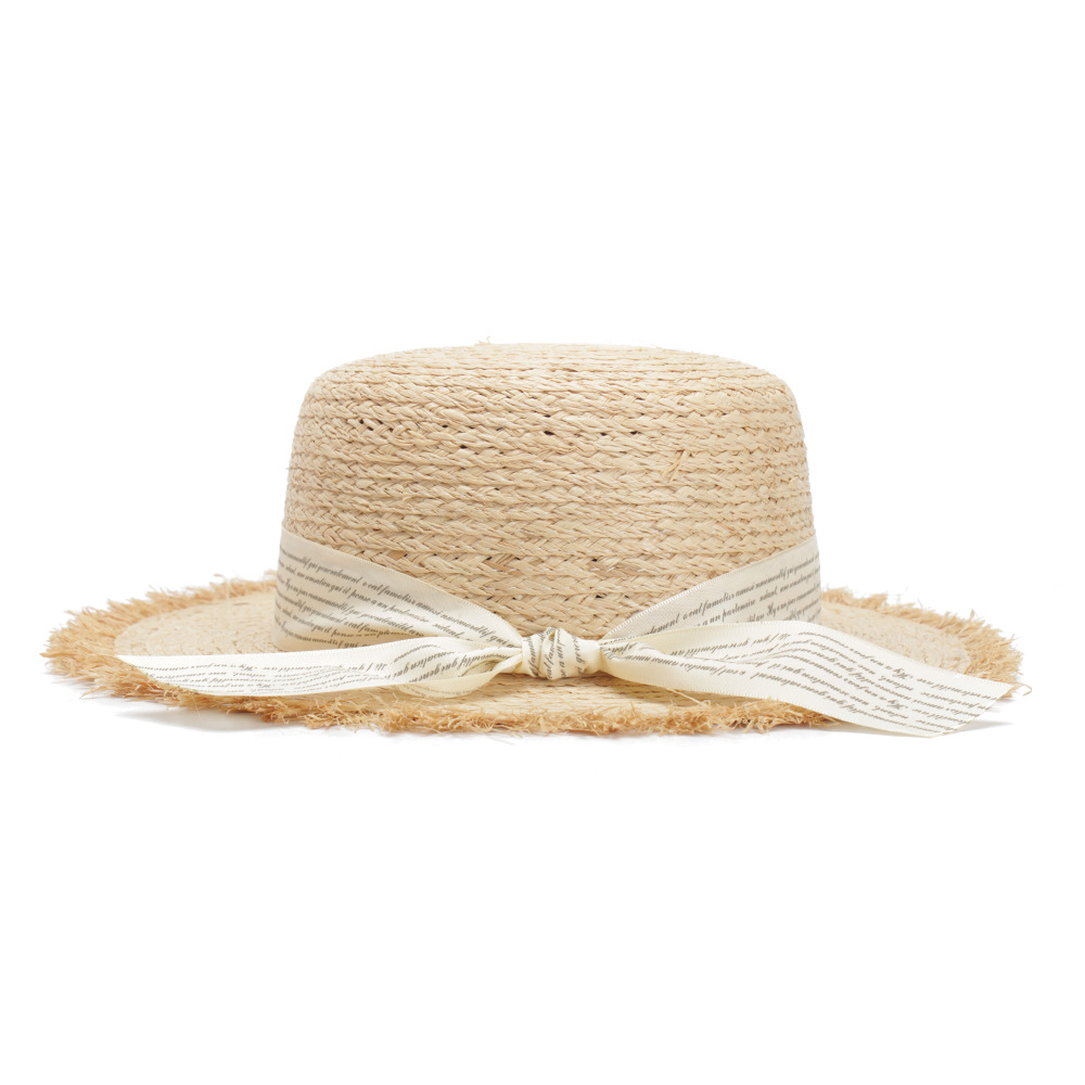 5387278a Womens Straw Hats Panama Sun Visor Raffia Hat For Women Gilrs Letter  Streamer Wide Brim Beach Caps Flat Top Summer Cap 2018