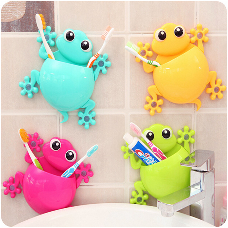 Cartoon Sucker Gecko Toothbrush Holder Wall Suction Hook Tooth Brush Holder Home Decor For Kids Bathroom Accessories image