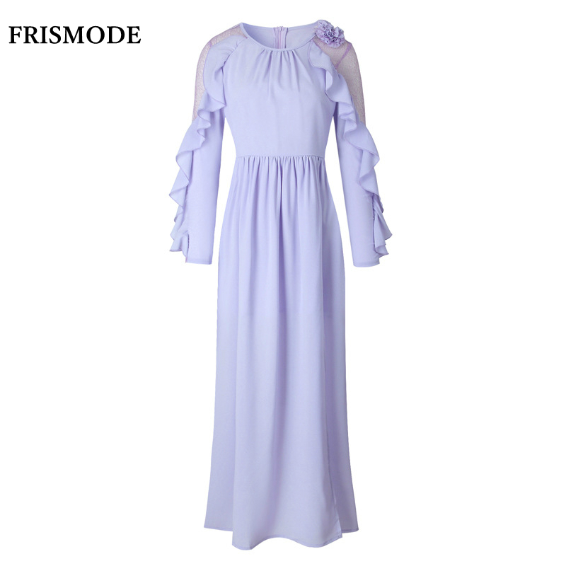 Sweet Lavender Ruffles Chiffon Long Dress Fanbingbing Same Style 2017 New Mesh Long Sleeve Maxi Dress Women Autumn Dress vestido