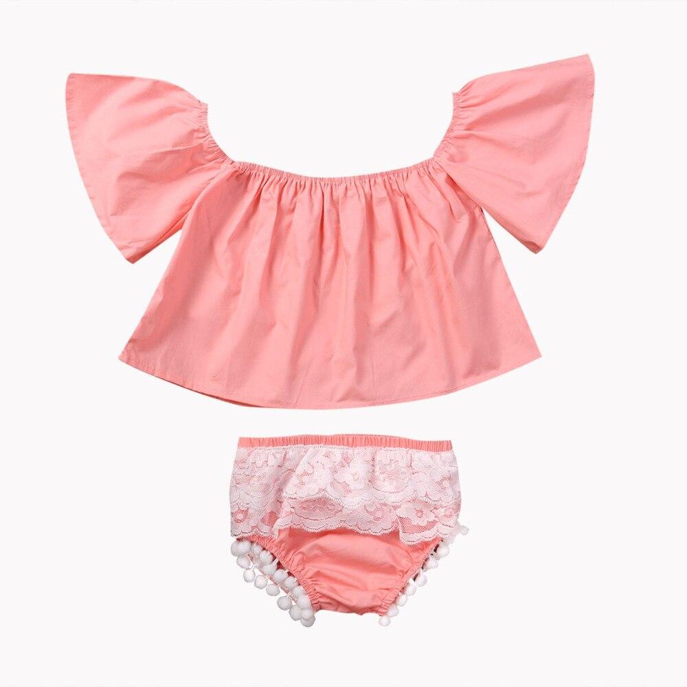 Baby Girl Clothing Set Infant Kids Pink f Shoulder T