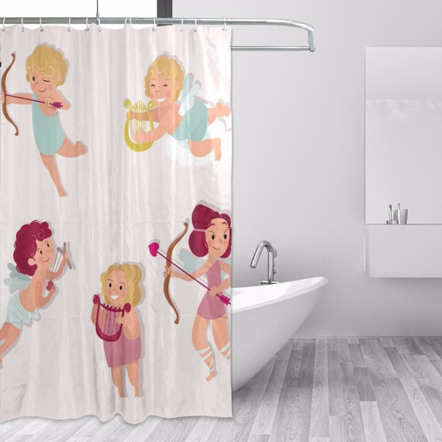 152x183cm Shower Curtain Waterproof With Hooks Mildew Mold Resistant Polyester Curtains Cute Angel Bathtub