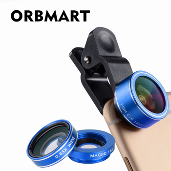 ORBMART 3 in 1 Mobile Phone Lens Fish Eye 198 degree Macro 15X 0.63X Wide Cellphone Lens