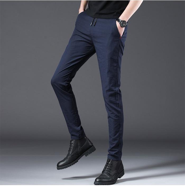 HTB1Y8j.R9zqK1RjSZFjq6zlCFXac Jantour 2019 Fashion Men Pants Slim Fit Spring summer High Quality Business Flat Classic Full Length thin Casual Trousers male