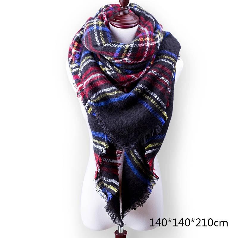 Горячая Распродажа, Модный зимний шарф, Женские повседневные шарфы, Дамское Клетчатое одеяло, кашемировый треугольный шарф,, Прямая поставка - Цвет: A10