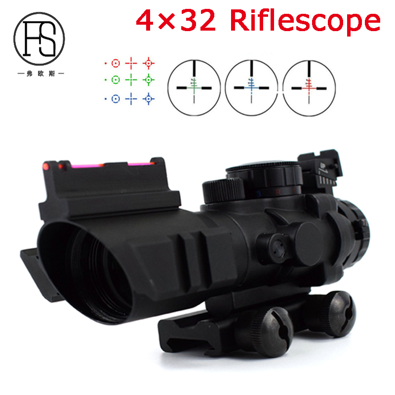 4x32 Tactical Fiber Sight Scope Military Sniper Shooting Reticle Riflescope Outdoor Hunting Optics Sight Scope 20mm Rail sniper 3 9x40e tactical hunting riflescope rifle scope outdoor wire reticle sight optics scopes with 11mm or 20 mm rings