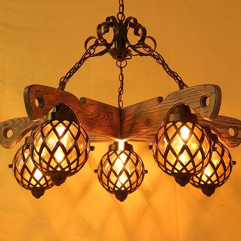 American Country Led Creative Personality Living Room Chandelier Atmospheric Wood Bar Restaurant Chandeliers Art Lighting