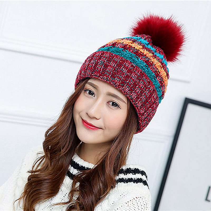 [TIMESWOOD] Kawaii Pom Poms Knitted Hat Ladies Ball Beanies Winter Hats For Women Skullies Brand New Thick Female Knit Caps 4pcs new for ball uff bes m18mg noc80b s04g