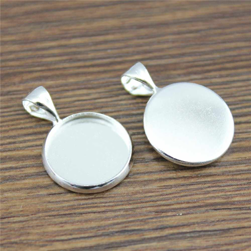 3 Colors Fit 12mm 14mm Glass Cabochon Buckle Base Setting Charms Pendant Tray For Necklace Findings