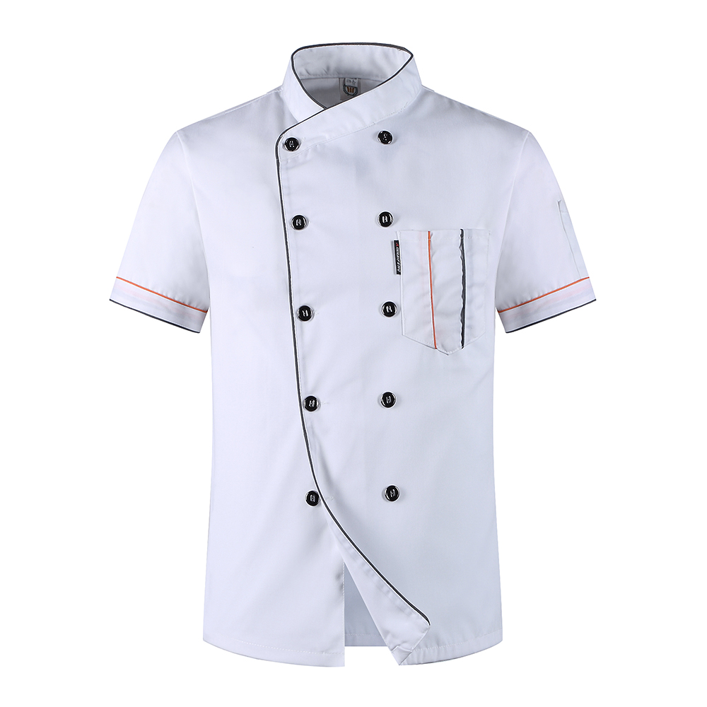 Summber Short-sleeved White Double-breasted Chef Uniform Jacket Restaurant Hotel Kitchen Cooker Suit Man Coat Work Overalls