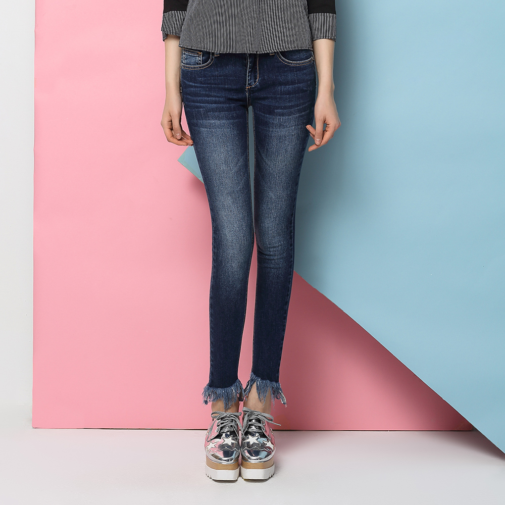 Blue Women Jeans Washed Jeans Bleached Pencil Pants Burr Hem Women Trousers Skinny Pants