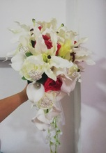 Waterfall Ivory Wedding Flowers Bridal Bouquets Artificial Pearls Crystal Bouquet De Mariage Rose
