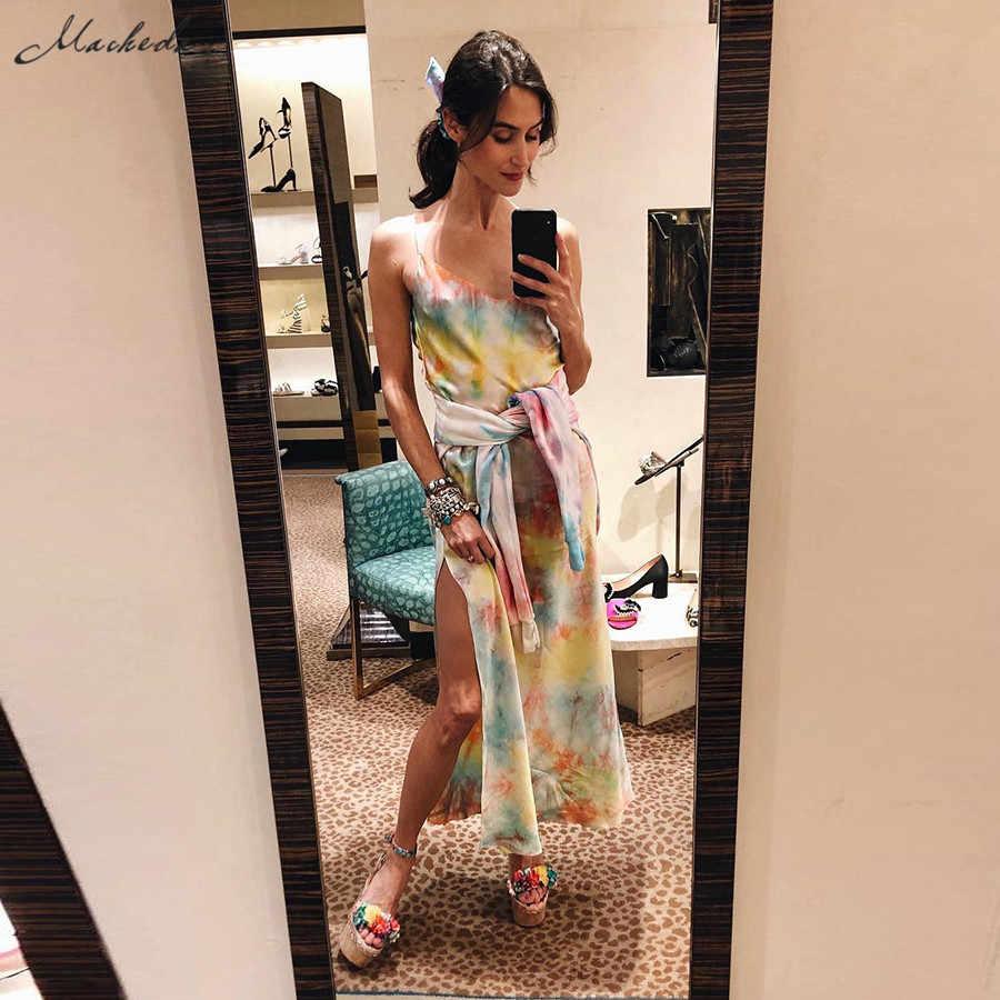 Macheda Новое женское летнее разноцветное облегающее длинное платье макси на тонких бретелях с поясом с глубоким декольте с разрезами по бокам