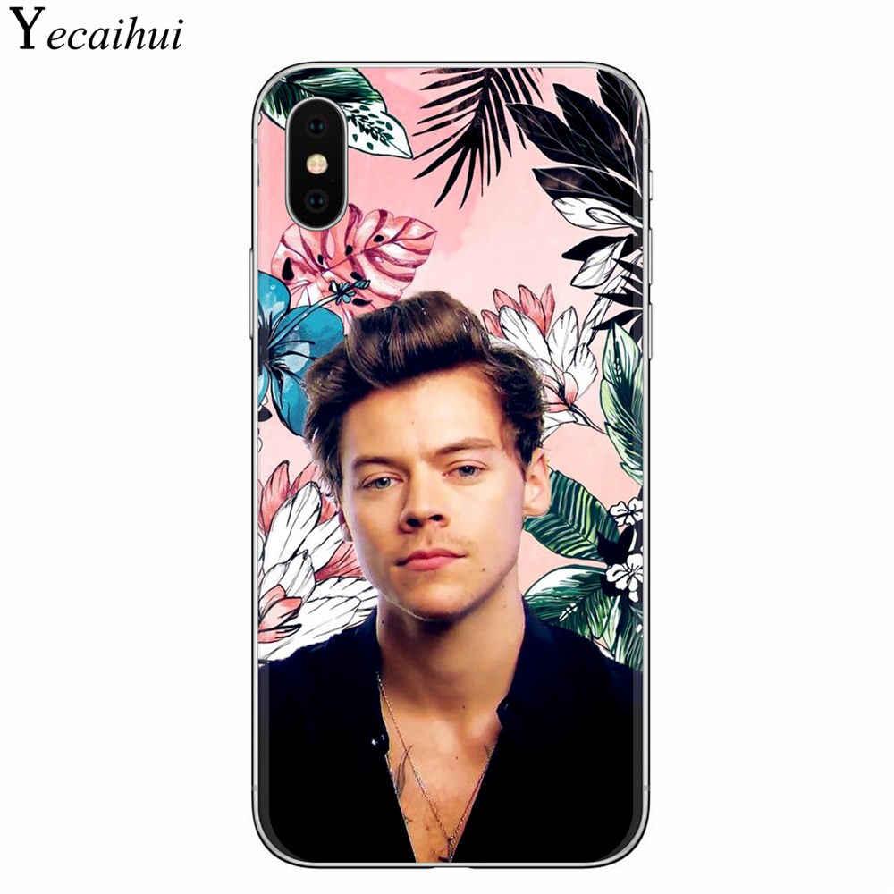 One Direction Harry Styles Roze Bloemen Soft TPU Telefoon Gevallen voor Coque iPhone X XR XS Max 8 7 6 6S Plus 5S SE Fashion Cover Capa