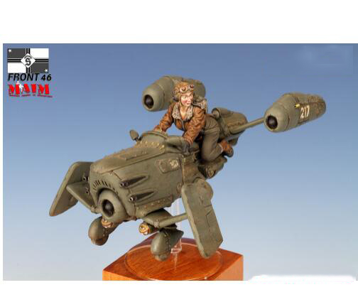 1/35 Female Pilot With The Hover Bike And Figure    Toy Resin Model Miniature Kit Unassembly Unpainted