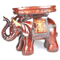 New Resin Elephant Change Shoe Cartoon Children's Stool Carving Fine Craft Ornaments Office Home Decorations Wooden Stool