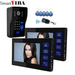 """SmartYIBA 7 """"ЖК-дисплей Цвет монитор видео дверь домофон Системы 5 RFID Доступа Камера + 2 черный монитор в наличии"""
