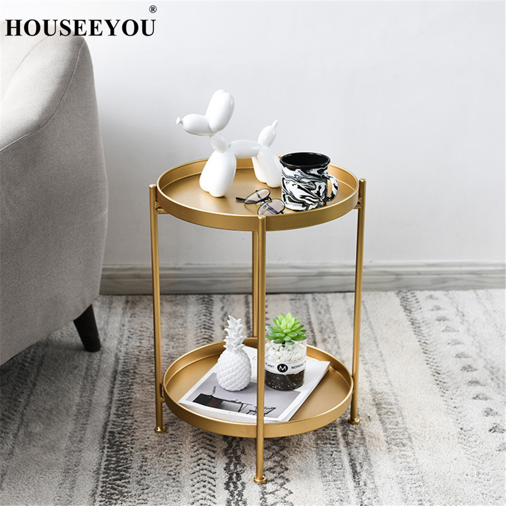 Surprising Us 87 49 30 Off Nordic Simple Wrought Iron Double Layer Small Coffee Table Side Corner Round Tea Table Living Room Mini Sofa Desk Home Decor On Machost Co Dining Chair Design Ideas Machostcouk