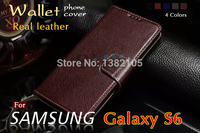 Top Pure Leather Phone Cover For Samsung S6 Case Luxury Flip Genuine Leather Case For Samsung