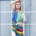 Уличная Стиль 2016 новый женщины длинные клетчатую рубашку letter pattern длинные блузка лето свободный дизайнер макси блузки NS362