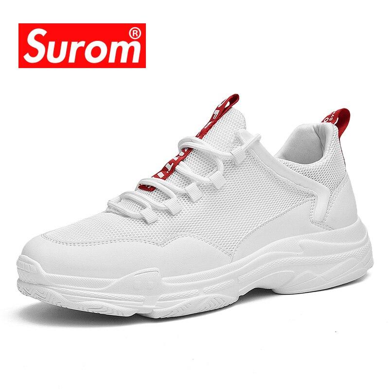 SUROM 2018 Novos Homens Sapatos Casuais Respirável Confortável Outono Populares Sapatilhas de Luxo Da Marca Sapatos Baixos para Os Homens o Transporte Da Gota