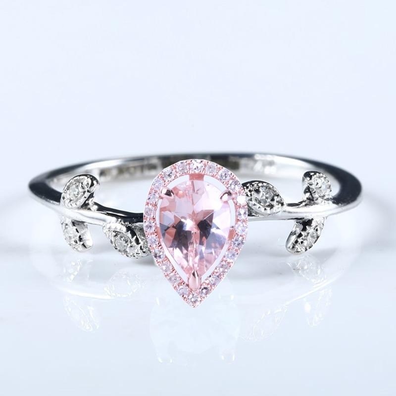 Натуральные бриллианты 5X7 мм Груша морганитное кольцо Твердое 14 к белое золото обручальное кольцо из розового золота украшения для помолвк