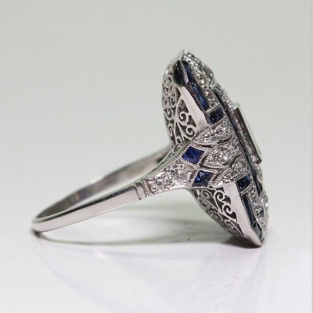 Старинные ювелирные изделия 925 стерлингового серебра заполнения принцессы AAA CZ площади циркония вечерние вечность Женское Обручальное Кольцо C логотипом отличный подарок
