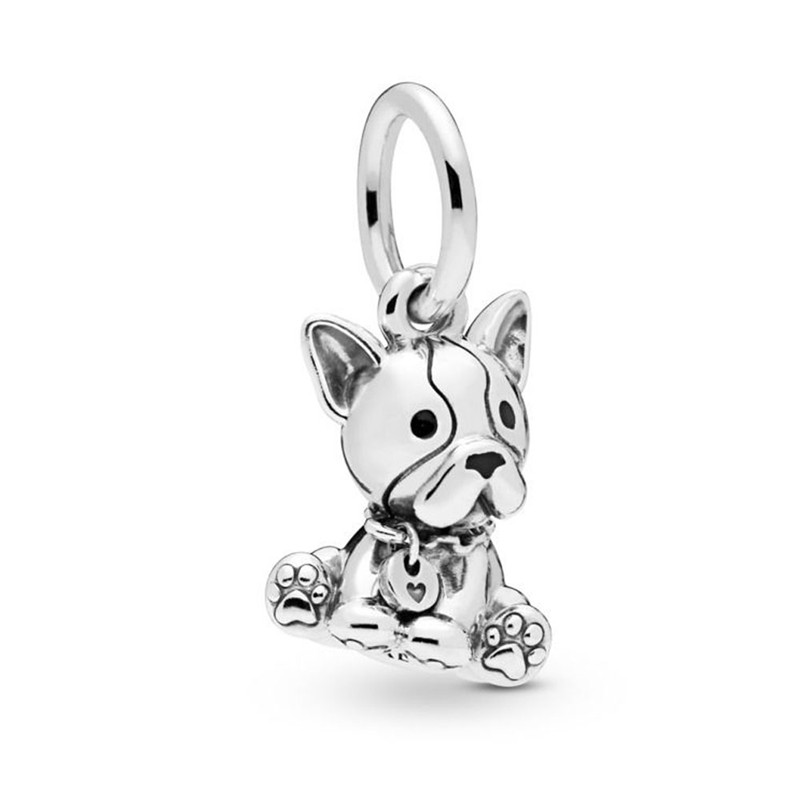 2019 New 925 Sterling Silver Pendant Bead Bulldog Puppy Hanging Charm Fit Original Pandora Bracelet Necklace Women DIY Jewelry in Charms from Jewelry Accessories