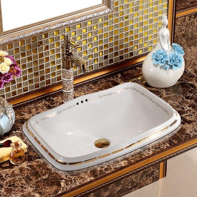 Badkamer wastafel kom aanrecht Rechthoekige Vorm Keramische badkamer ...
