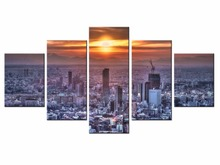 Canvas Printings beautiful city landscape 5 Piece Modern Style Cheap Pictures Decorative Wall Art Framed Prints Gift /City-126