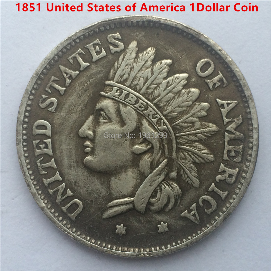 Free Shipping 1pcs Lot Usa One Dollar 1851 Indian Head