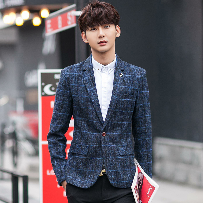 2016 New Woolen Plaid Los Hombres Blazer Casual Factory Support Korean Clothing For Men