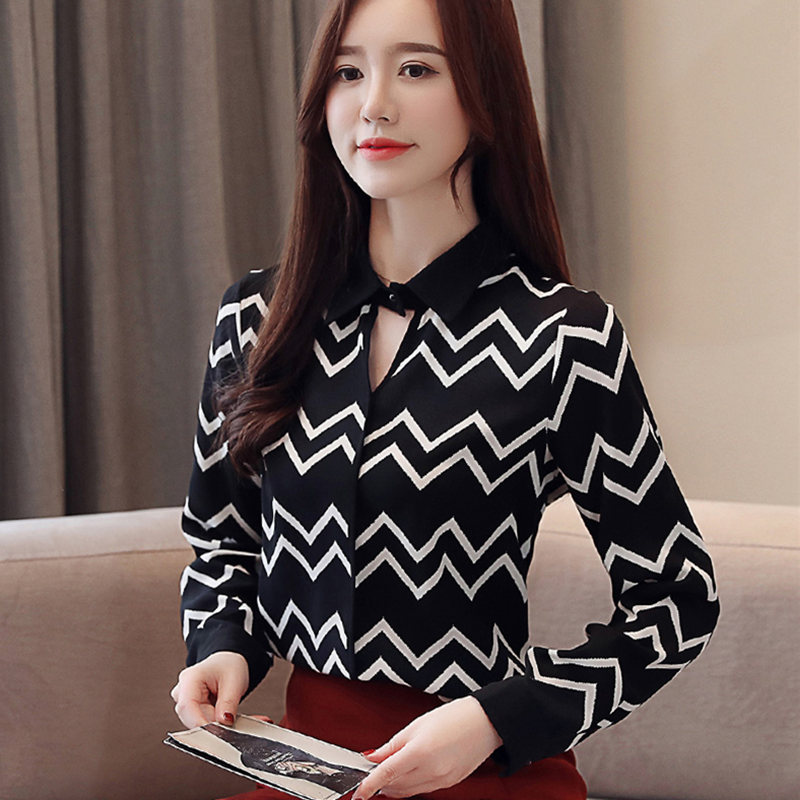 2019 New Spring Women Tops And Striped   Blouse     Shirt   Office Lady Long Sleeve Turn-Down Collar   Shirts   Casual Top   Blouse