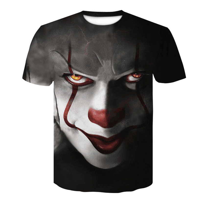 T-shirt Dos Homens de venda de verão 3D Hop T-Shirt de Impressão Bonito do Palhaço 2018 Unisex Moda Plus Size Estilo Europeu Em Torno do pescoço tops S-4XL
