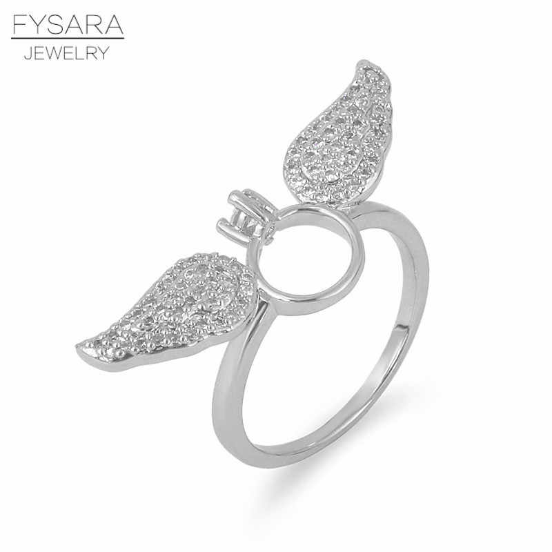 FYSARA Silver Color Angel Wings Rings Micro Zircons Paved Crystal Ring Luxury Feather Finger Ring For Women Jewelry Party Gift