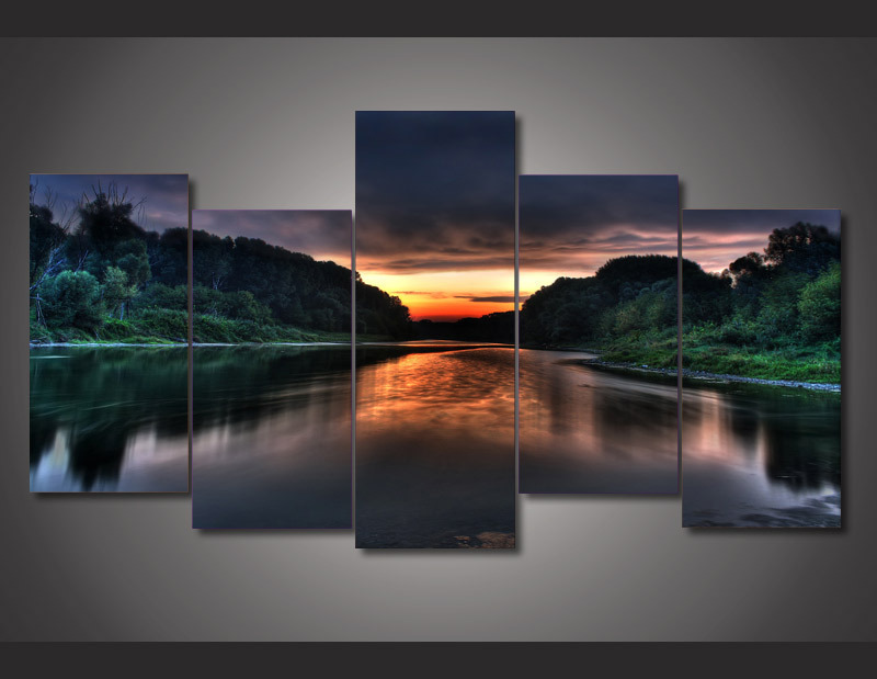 5 Panel Wall Art compare prices on panel paintings sunrise- online shopping/buy low
