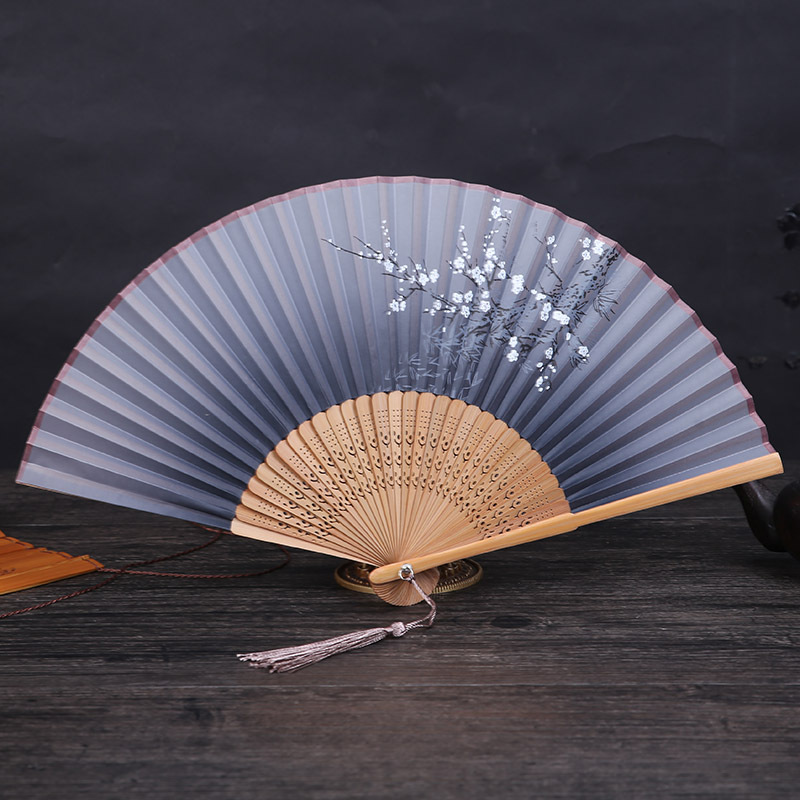 1PC Vintage Chinese Style Spun Silk Flower Printing Hand Fan Folding Hollow Carved Hand Fan Party Supplies Wedding Decor