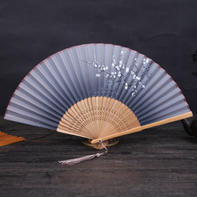 1PC Vintage Chinese Style Spun Silk Flower Printing Hand Fan Folding Hollow Carved Party Supplies Wedding Decor