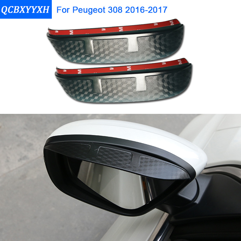 Car Styling Carbon rearview mirror rain eyebrow Rainproof Sticker Flexible Blade Protector Accessories For Peugeot 308 2016-2017 2pcs pair universal flexible pvc car rearview mirror rain shade rainproof blades car back mirror eyebrow rain cover accessories