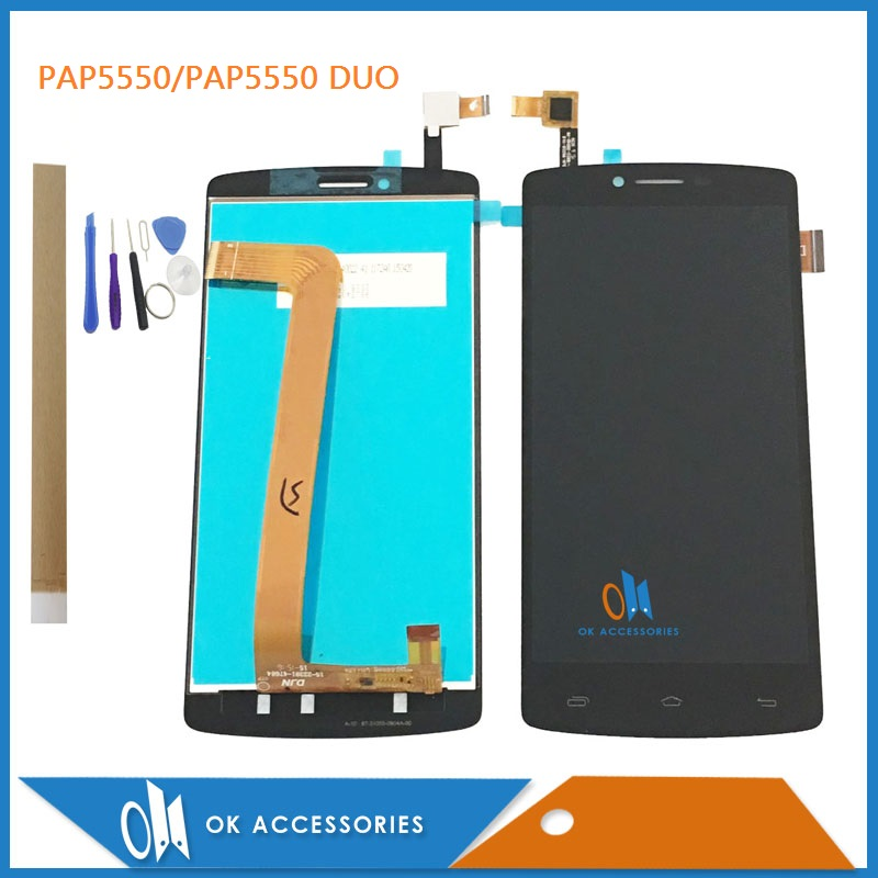 HIGH QUALITY 5.5 Inch For Prestigio MultiPhone PAP5550 PAP 5550 DUO LCD Display With Touch Screen Digitizer With Tools & Tape