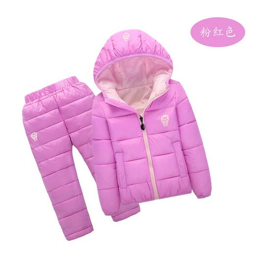 Boys Girls 2PCS Sets suits 2017 Winter Hooded Down Coat+Pant Outfits Outdoor Kids Keep Warm Suit Children's Clothing Unisex 2015 new autumn winter warm boys girls suit children s sets baby boys hooded clothing set girl kids sets sweatshirts and pant