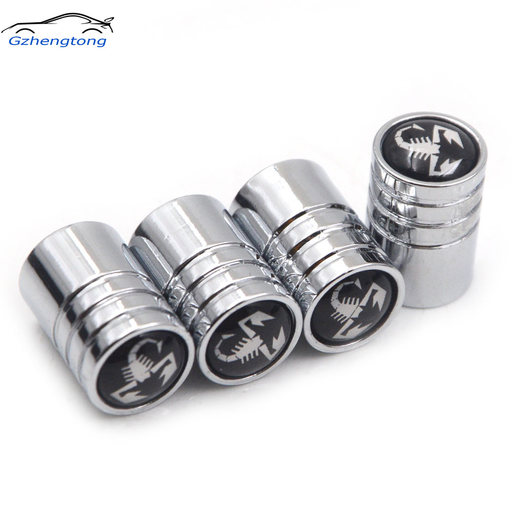Gzhengtong 4pcs/lot Auto Wheel Tire Valve Cover Car Styling Car-Styling Car Metal Sliver Caps Emblems Case For Fiat Abarth