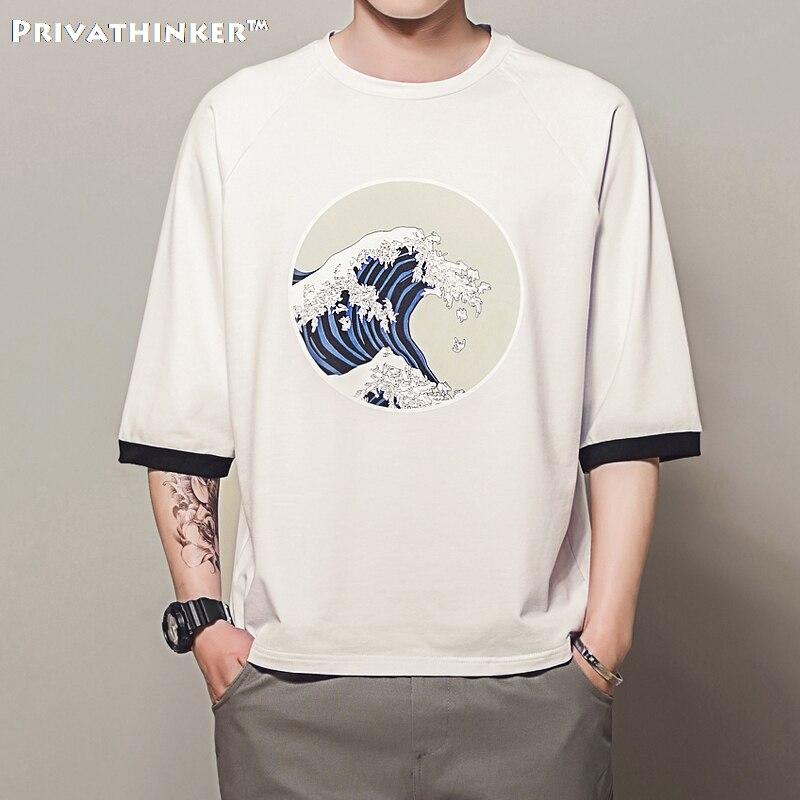 Privathinker 2018 5XL Mens Magliette Harajuku Onde di Stampa T-Shirt Maschio Casual Baggy maglietta Raglan Manicotto Dei Tre Quarti Top Magliette