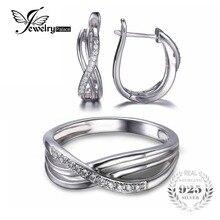 Jewelrypalace Anillo Nudo Infinito Pendiente Del Aniversario de Boda de Compromiso Sólido 925 Sterling Silver Jewelry Set Marca de Joyería Fina