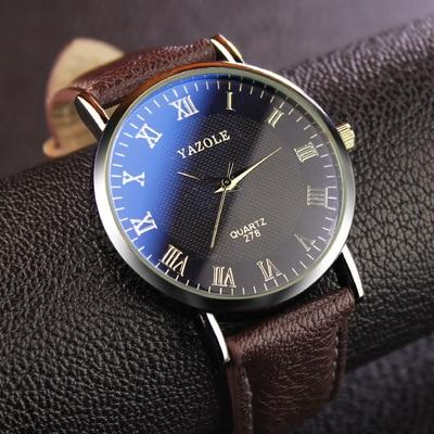 Top Brand Luxury Blue Glass YAZOLE Watch Men Watch Fashion Roman Quartz Watch Waterproof Business Wristwatches Hour reloj hombre