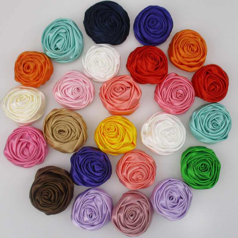 20pcs lot 2 DIY Decorative Satin Rolled Rosettes Fabric Flower Girls Boutique Hair Rose Flowers Accessories