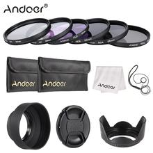 Andoer 49 77mm Lens Filter Kit UV+CPL+FLD+ND(ND2 ND4 ND8) with Carry Pouch/Lens Cap/Lens Cap Holder/Tulip & Rubber Lens Hoods