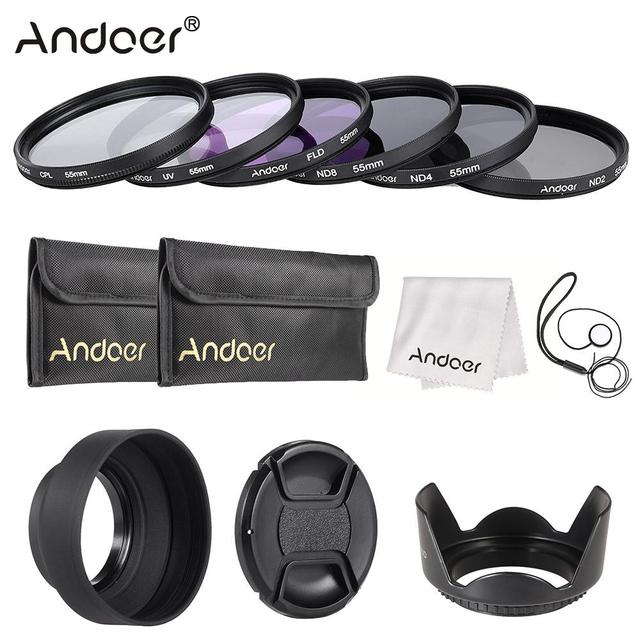 Andoer 49 77mm עדשת מסנן ערכת UV + CPL + FLD + ND (ND2 ND4 ND8) עם נרתיק נשיאה/עדשה/עדשה כובע בעל/טוליפ & גומי ברדסי עדשה