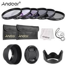Andoer – Kit de filtre d'objectif 49-77mm, UV + CPL + FLD + ND(ND2 ND4 ND8) avec pochette de transport, capuchon d'objectif, porte-capuchon d'objectif, tulipe et capuchon d'objectif en caoutchouc
